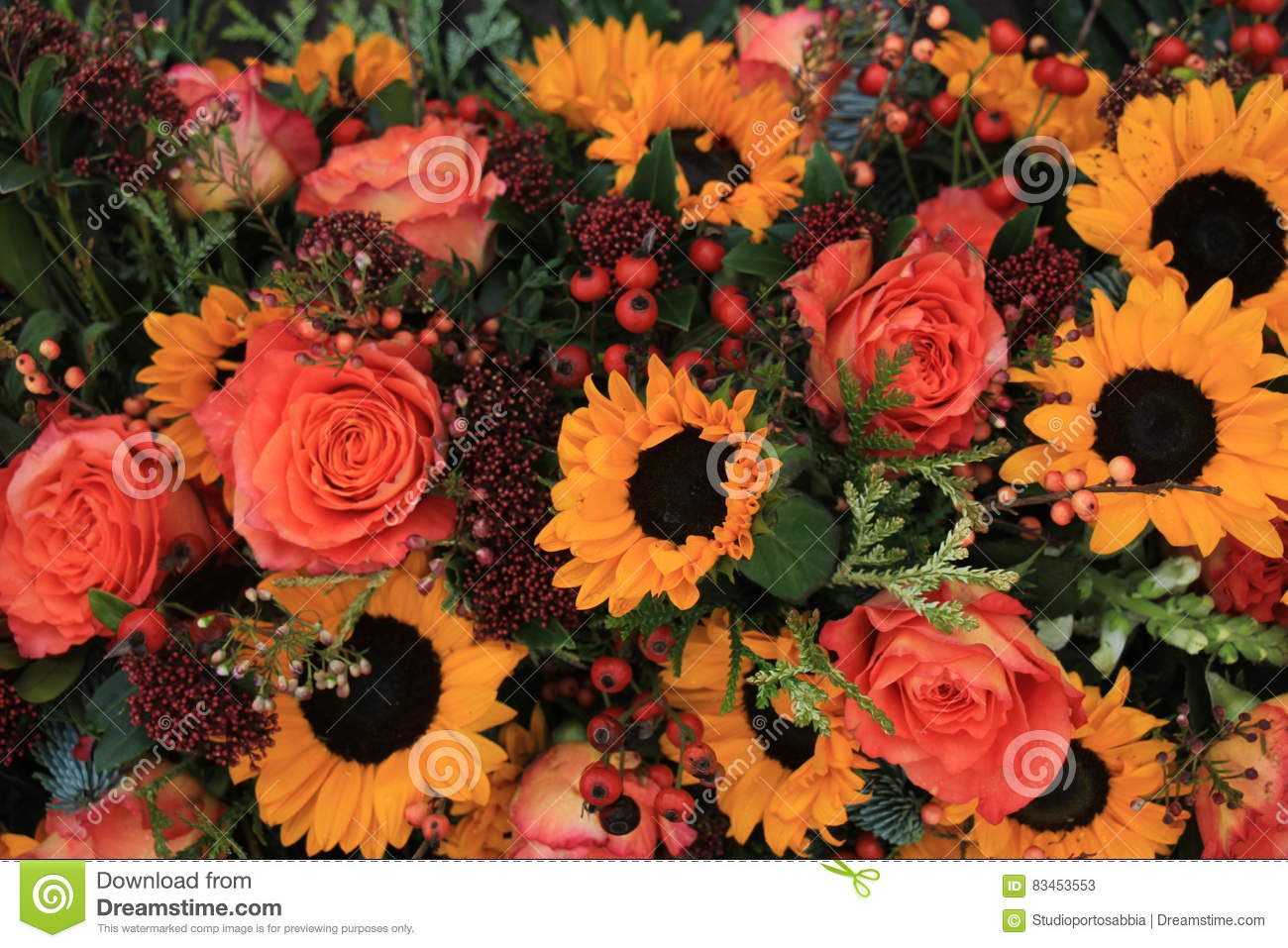Sunflowers And Roses Stock Image Image Of Wedding Flowers 83453553
