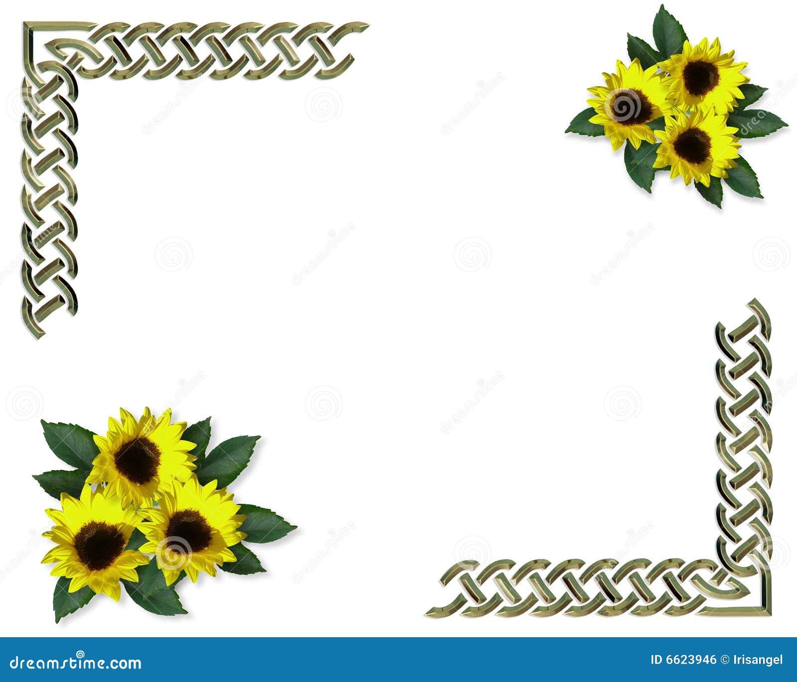 Sunflowers Spring border stock illustration Illustration of edge