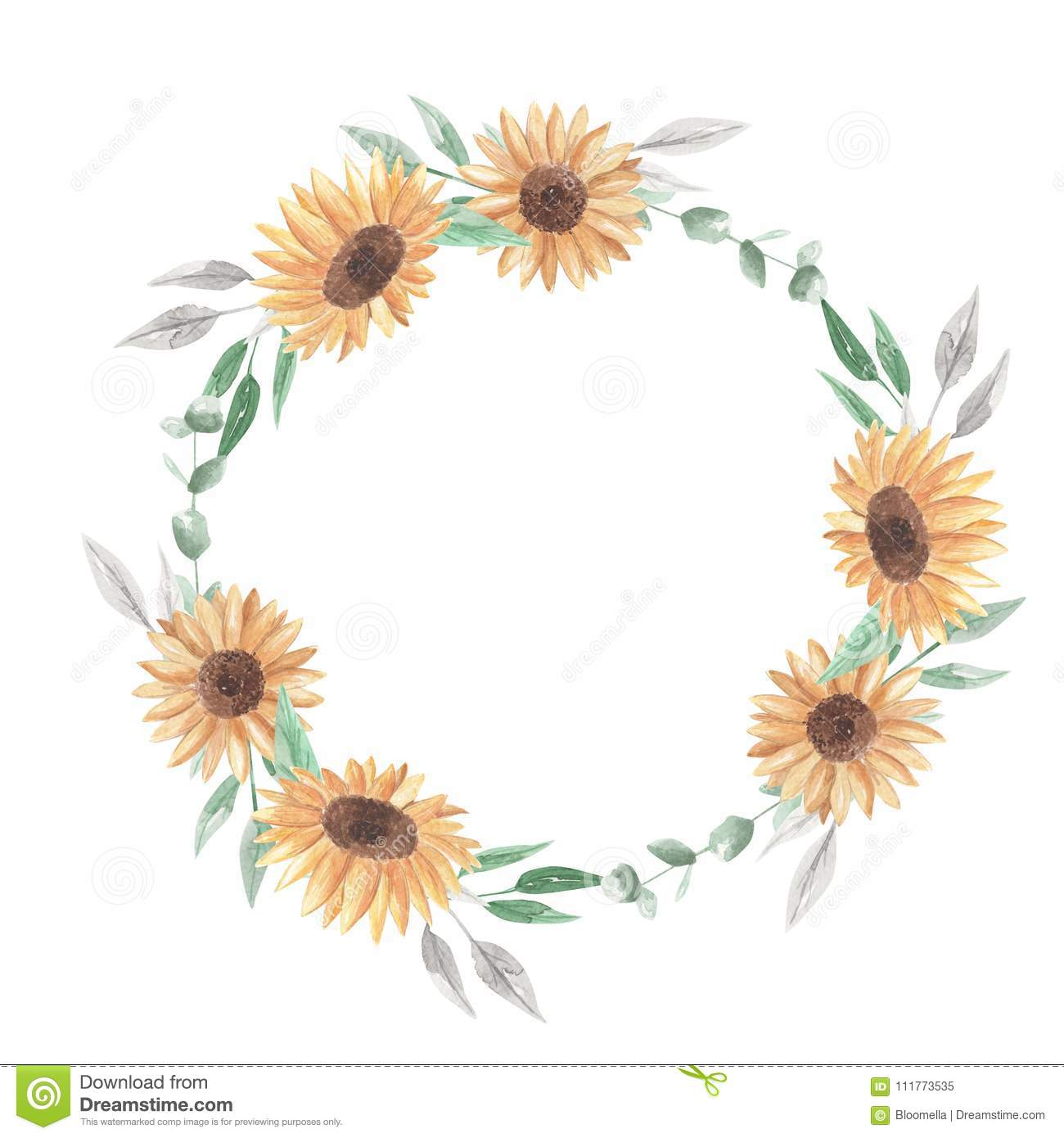 Sunflowers Watercolor Wreath Garland Clipart Flowers White Roses Stock Illustration Illustration Of Colors Botanical 111773535