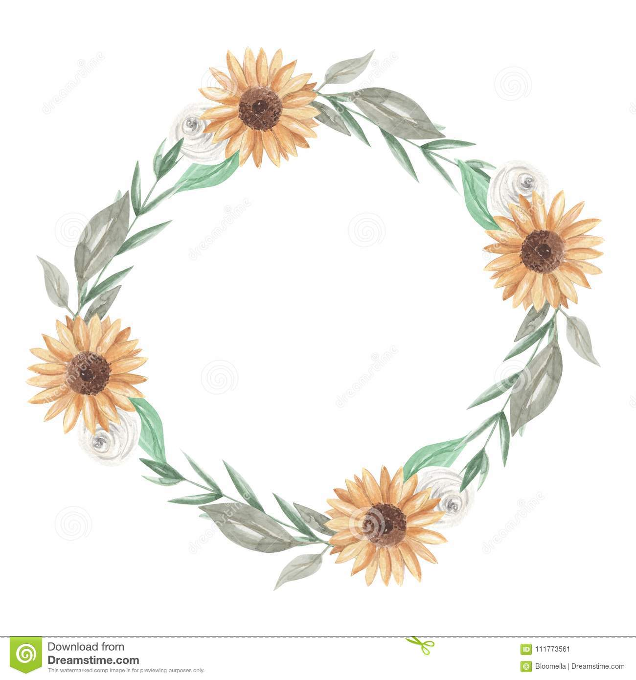 Sunflowers Watercolor Wreath Garland Clipart Flowers White Roses Stock Illustration Illustration Of Delicate Eucalyptus 111773561