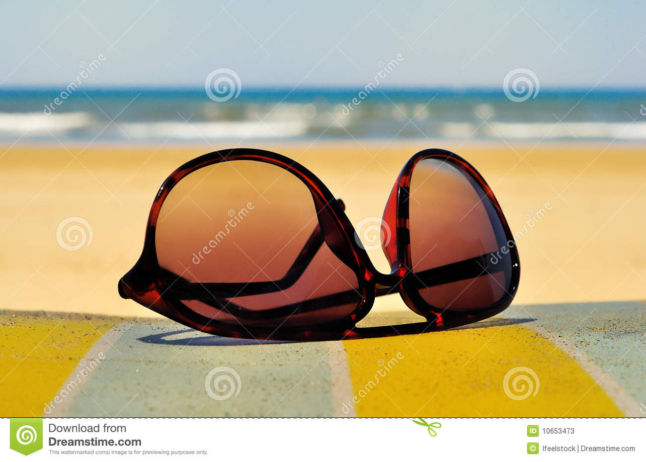 Sunglasses on the beach stock image. Image of glamour ...