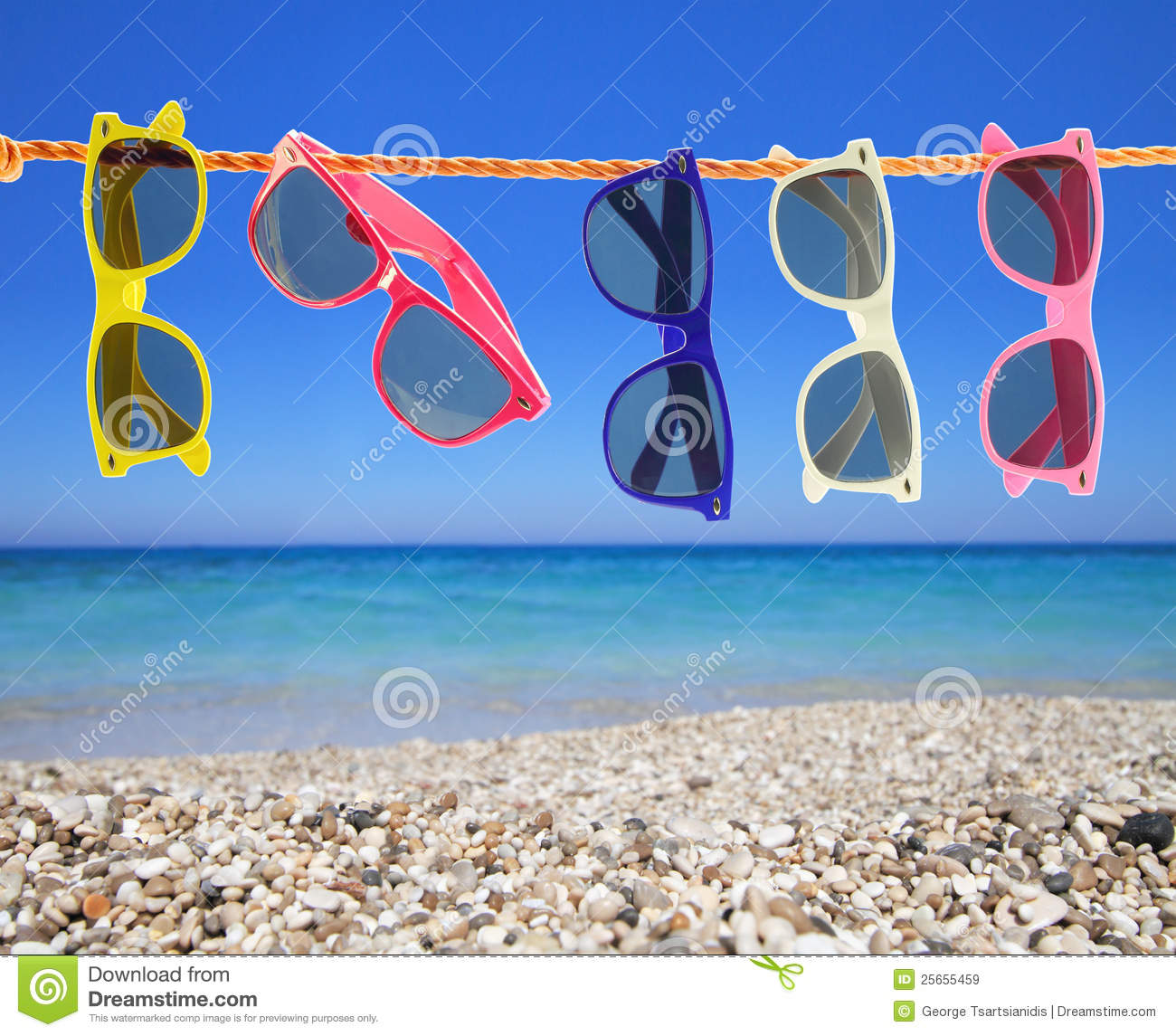 Sunglasses On The Beach Stock Image. Image Of Colored