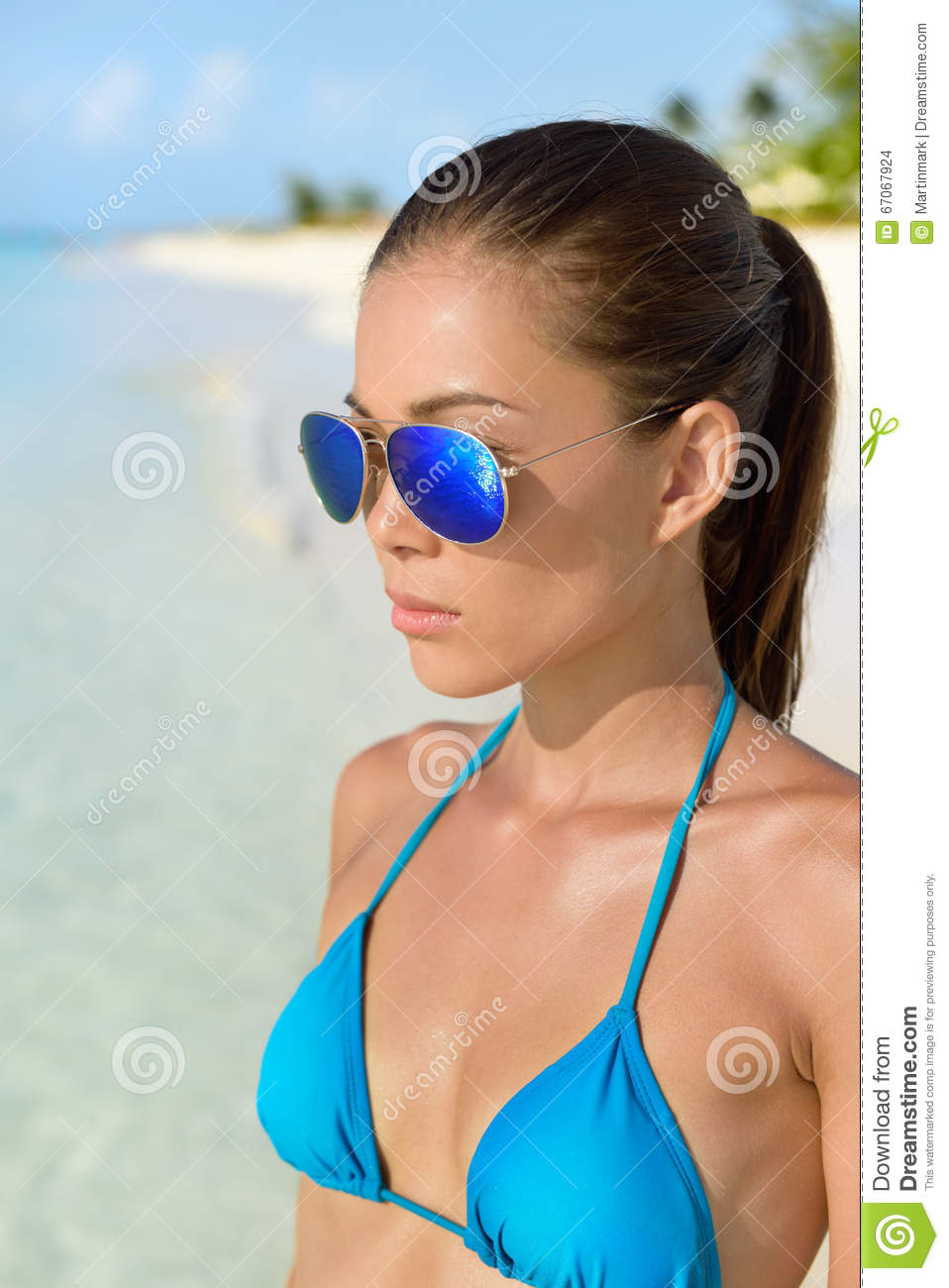 Sunglasses Beach Asian Woman With Blue Bikini Stock Photo ...