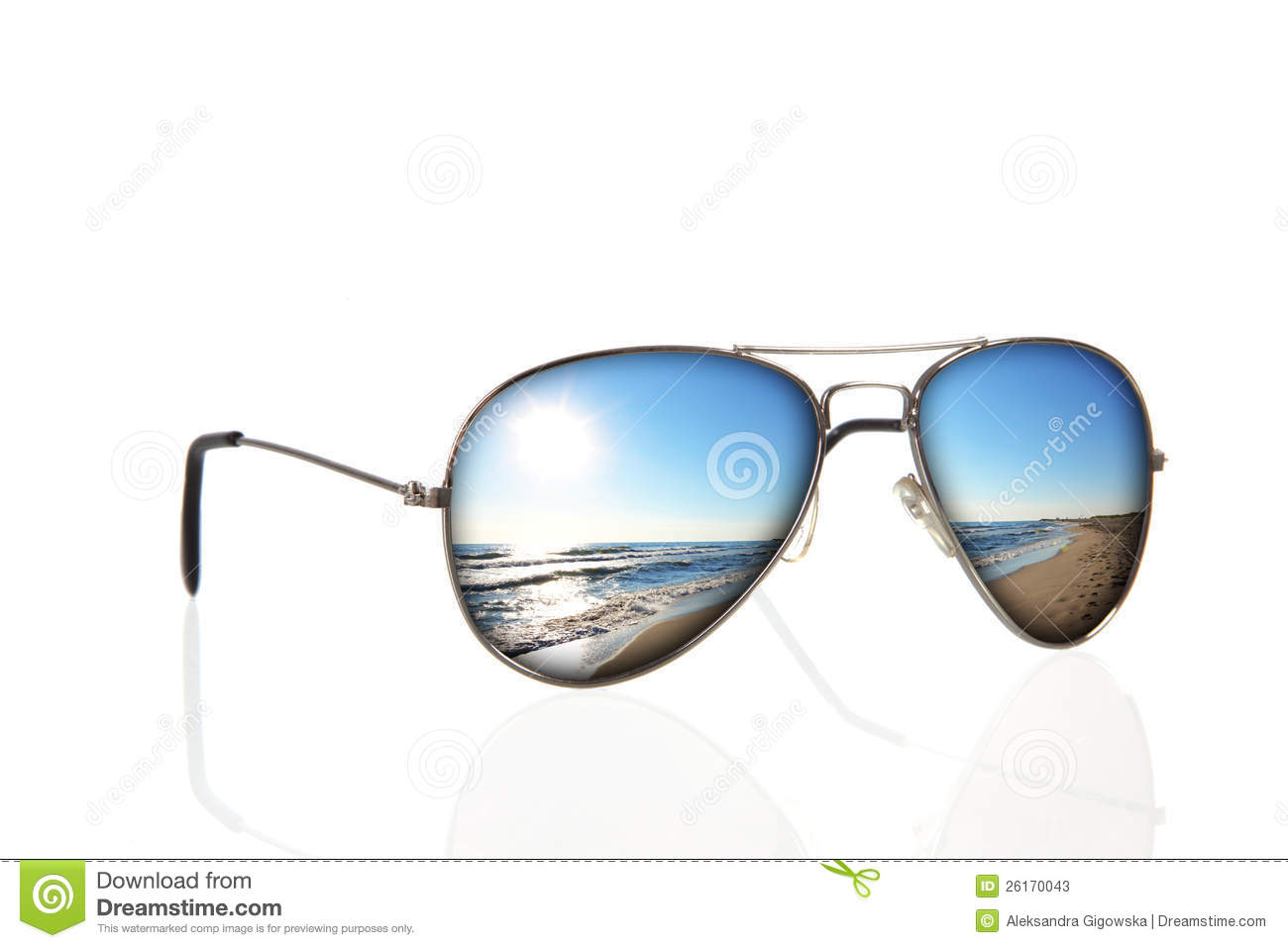 Sunglasses With Beach Reflection Over White Stock Image ...