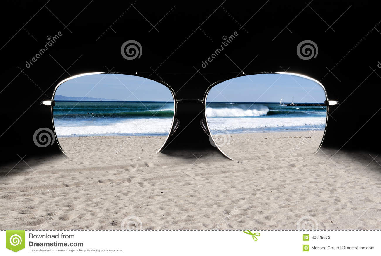 Sunglasses with Beach Reflection
