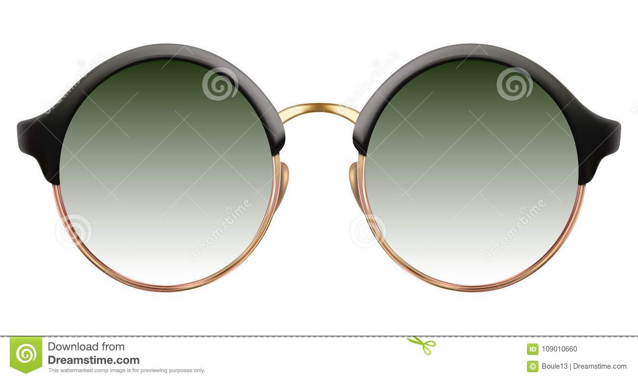 Sunglasses with green lens and gold metalic frame