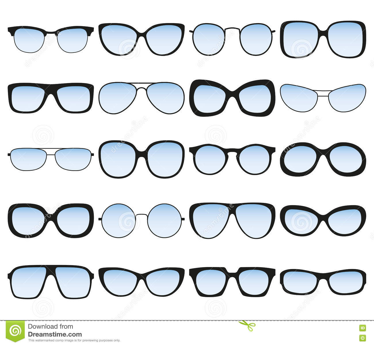 Sunglasses Icon Set. Different Spectacle Frames And Shapes ...