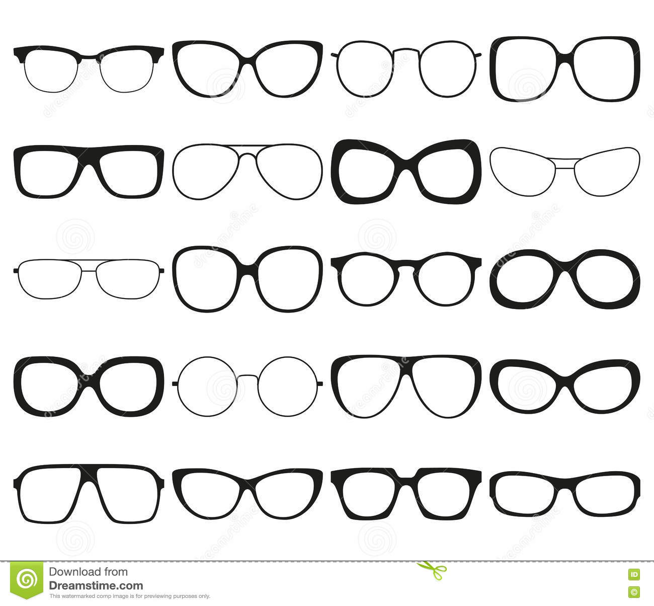 Sunglasses Icon Set Different Spectacle Frames And Shapes