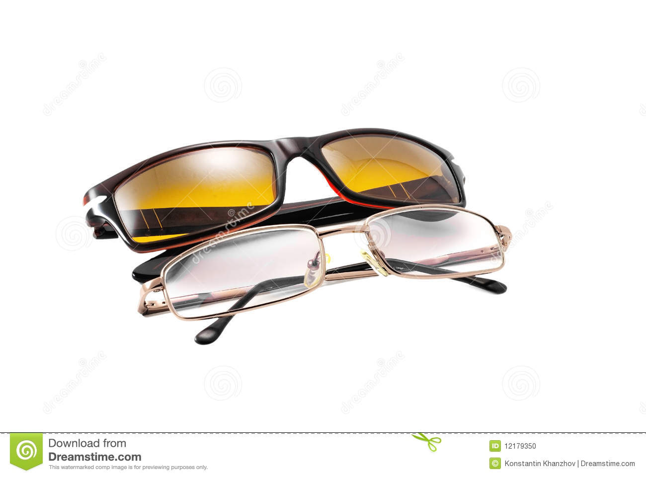 Sunglasses and reading glasses isolated