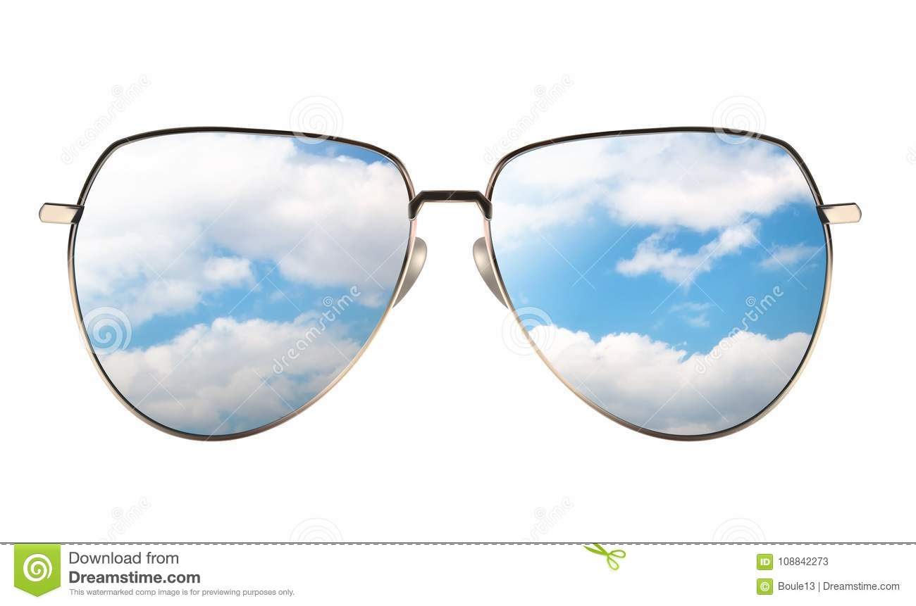 Sunglasses with reflection of cloudy sky