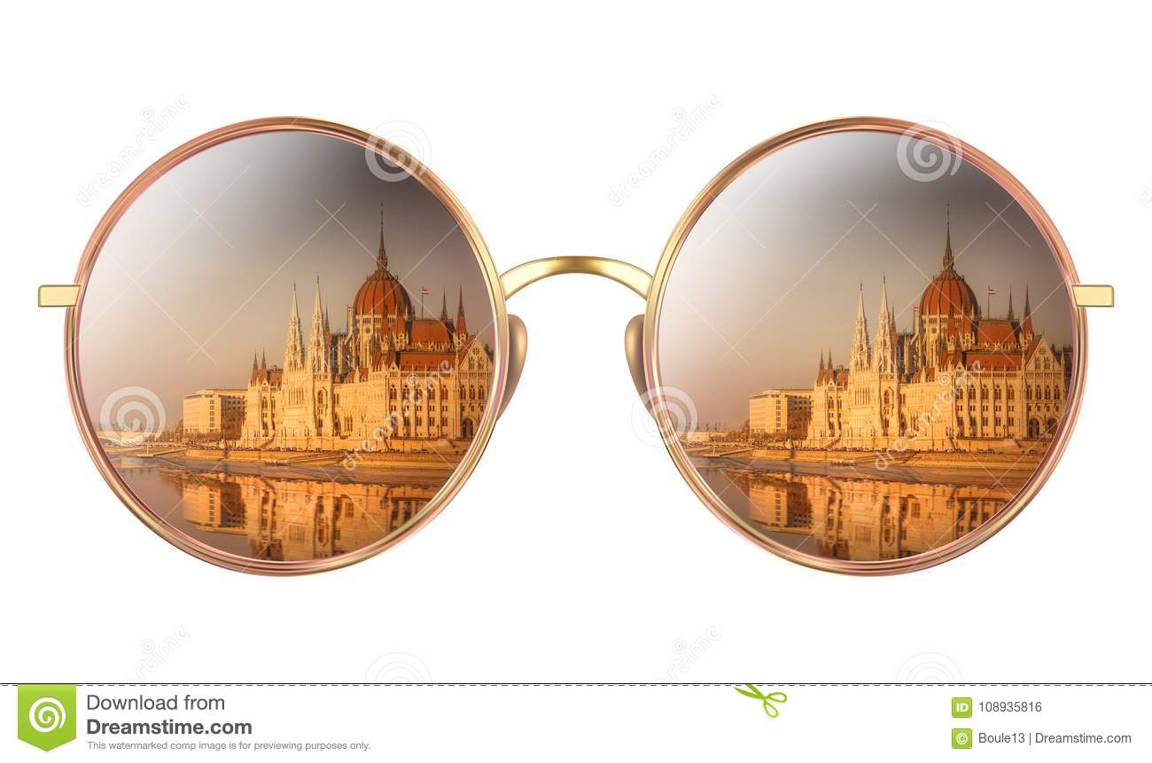 Sunglasses with reflection of Hungarian Parliament