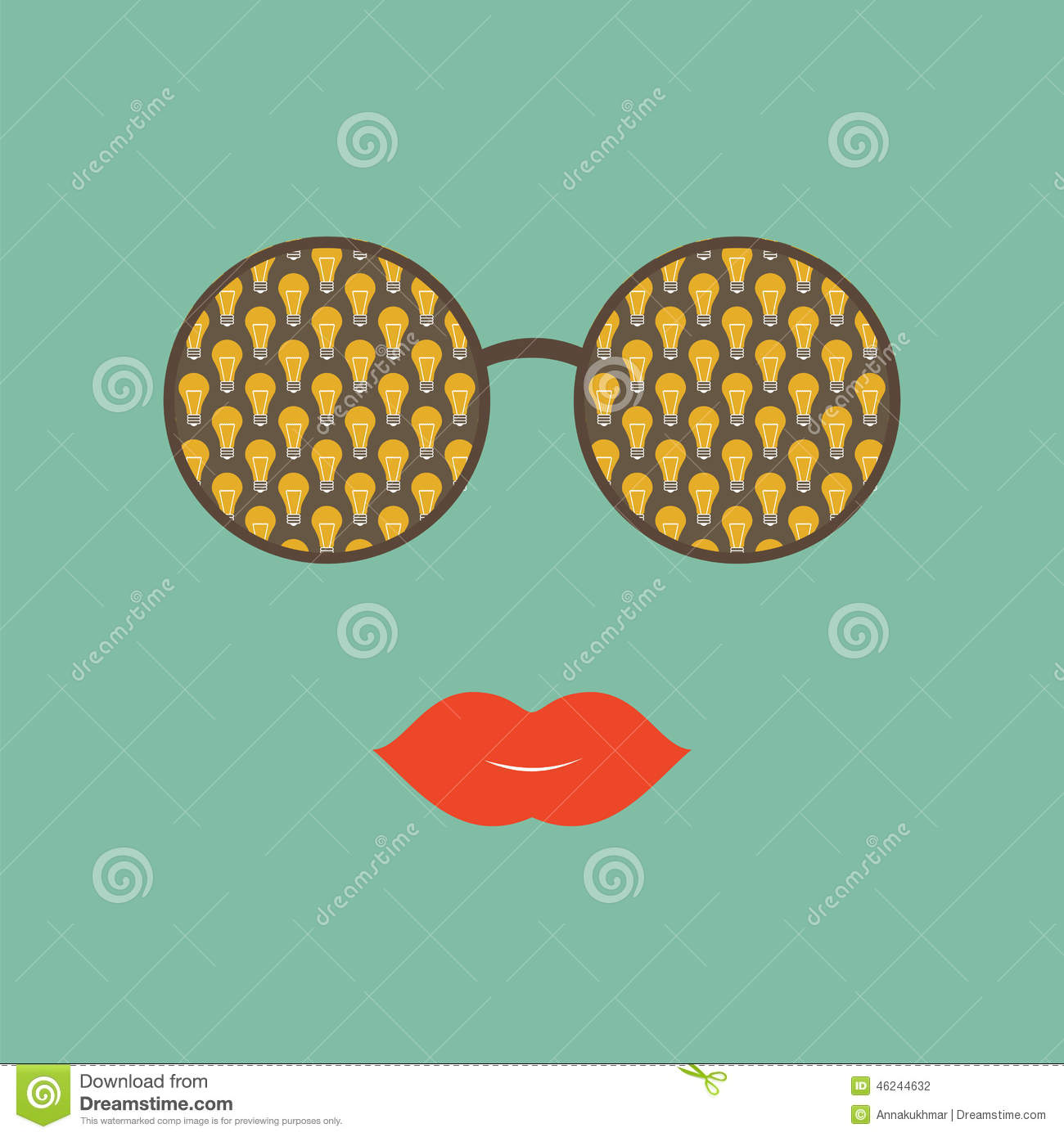 23291f7d280 Sunglasses With Reflection Of Light Bulb And Red Lips Stock Vector ...