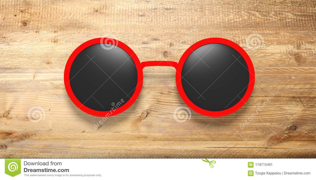Wooden A Sunglasses With LensIsolated Round Black Red On D9WHE2I
