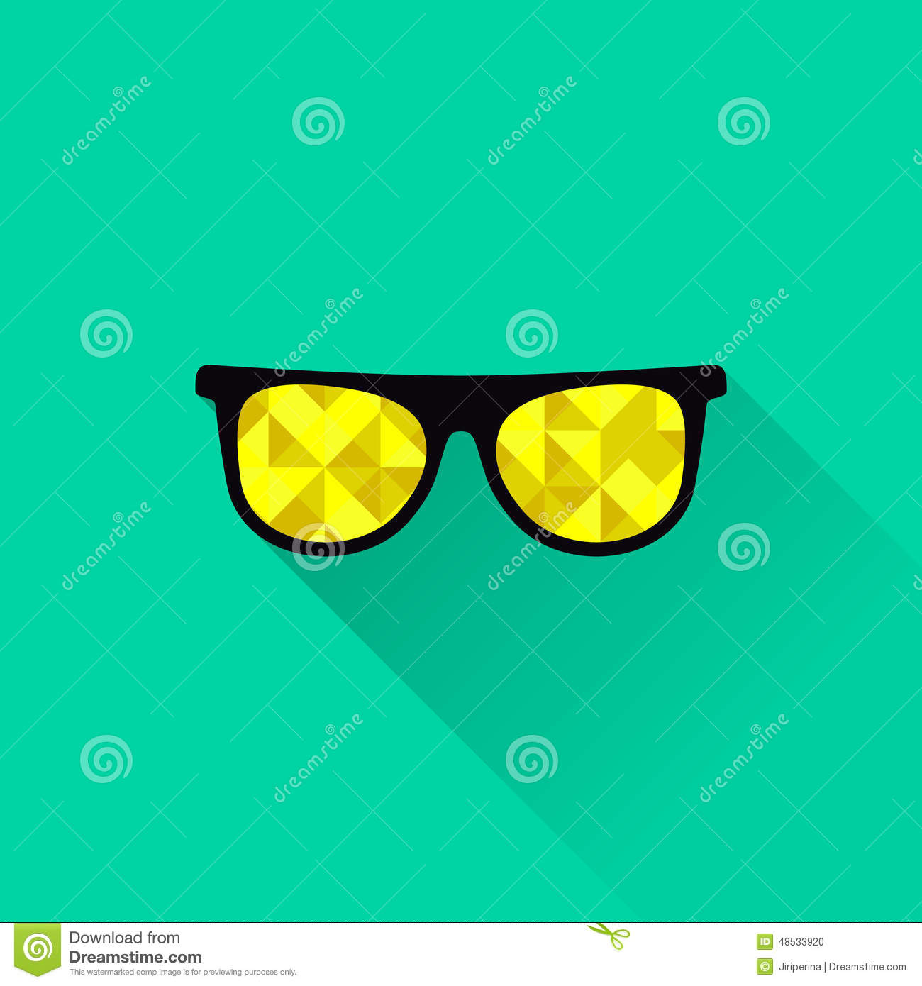 79d9602ed0ec Sunglasses with yellow lenses in flat design. Vector illustration. More  similar stock illustrations