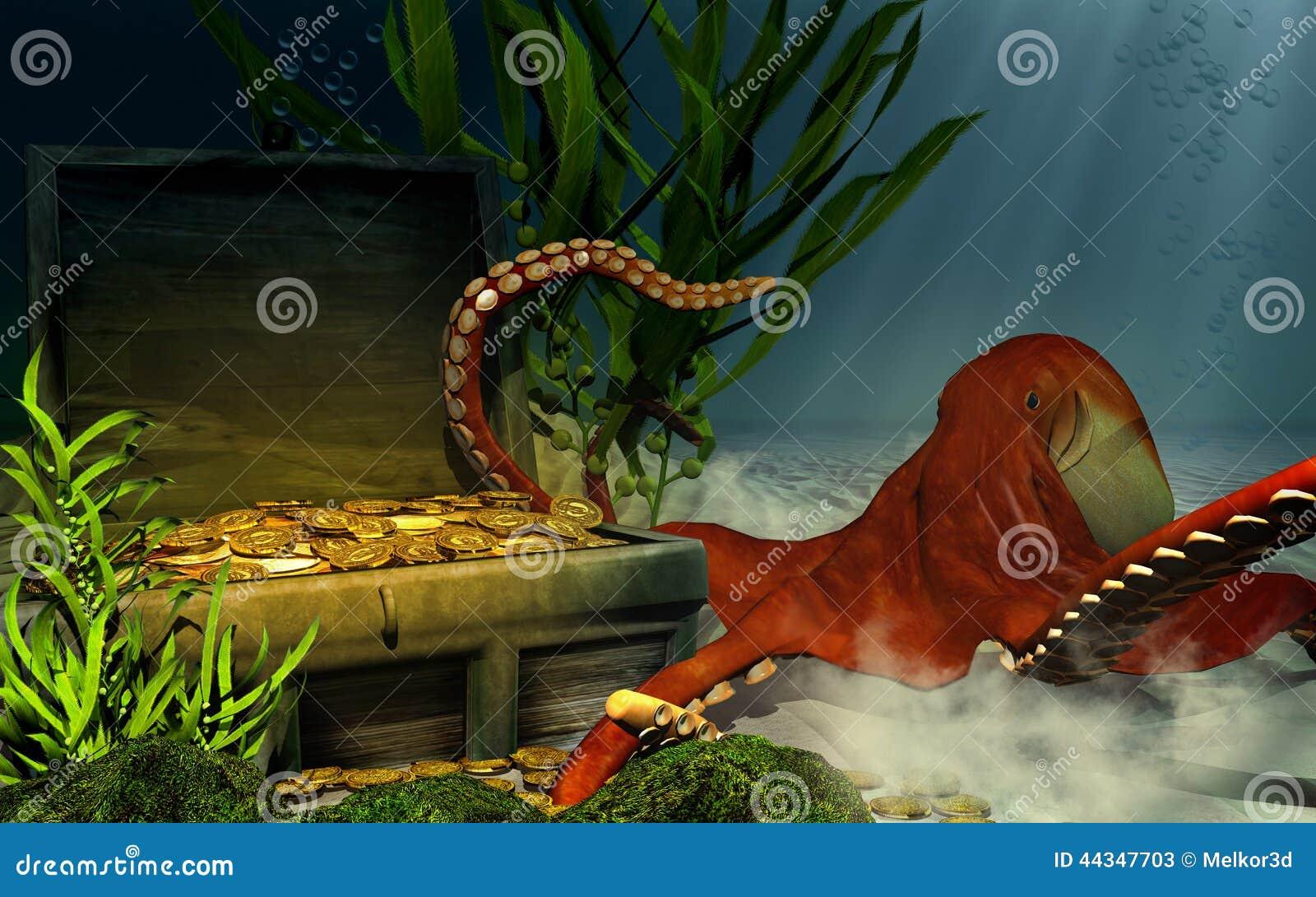 sunken chest treasure and octopus stock illustration illustration