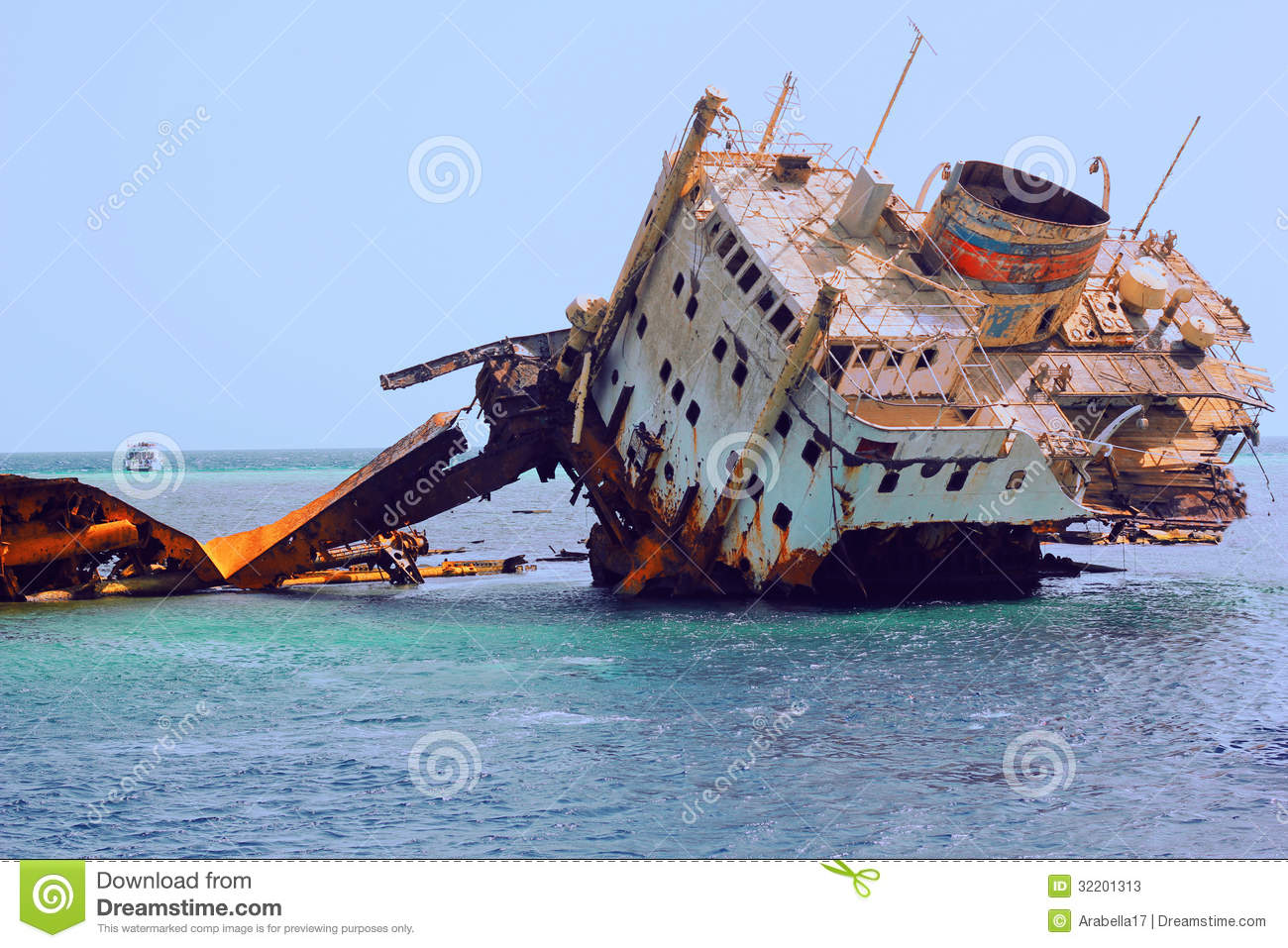 Sunken Ship In The Sea Stock Image Image Of
