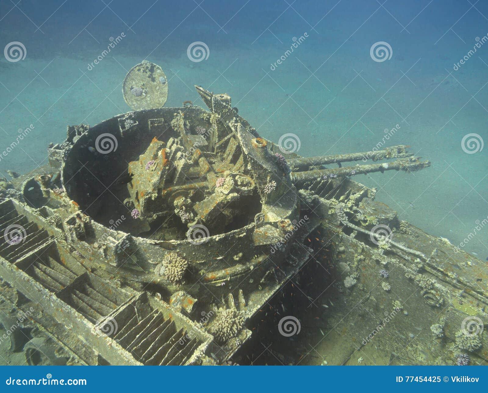 Sunken Tank Wreck At Aqaba, Jordan, Underwater Stock Image ... Sunken Tank