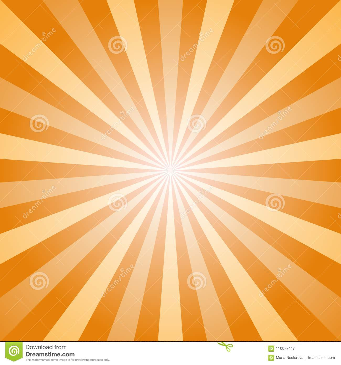 Sunlight abstract background. Orange and gold color burst background. Vector illustration. Sun beam ray