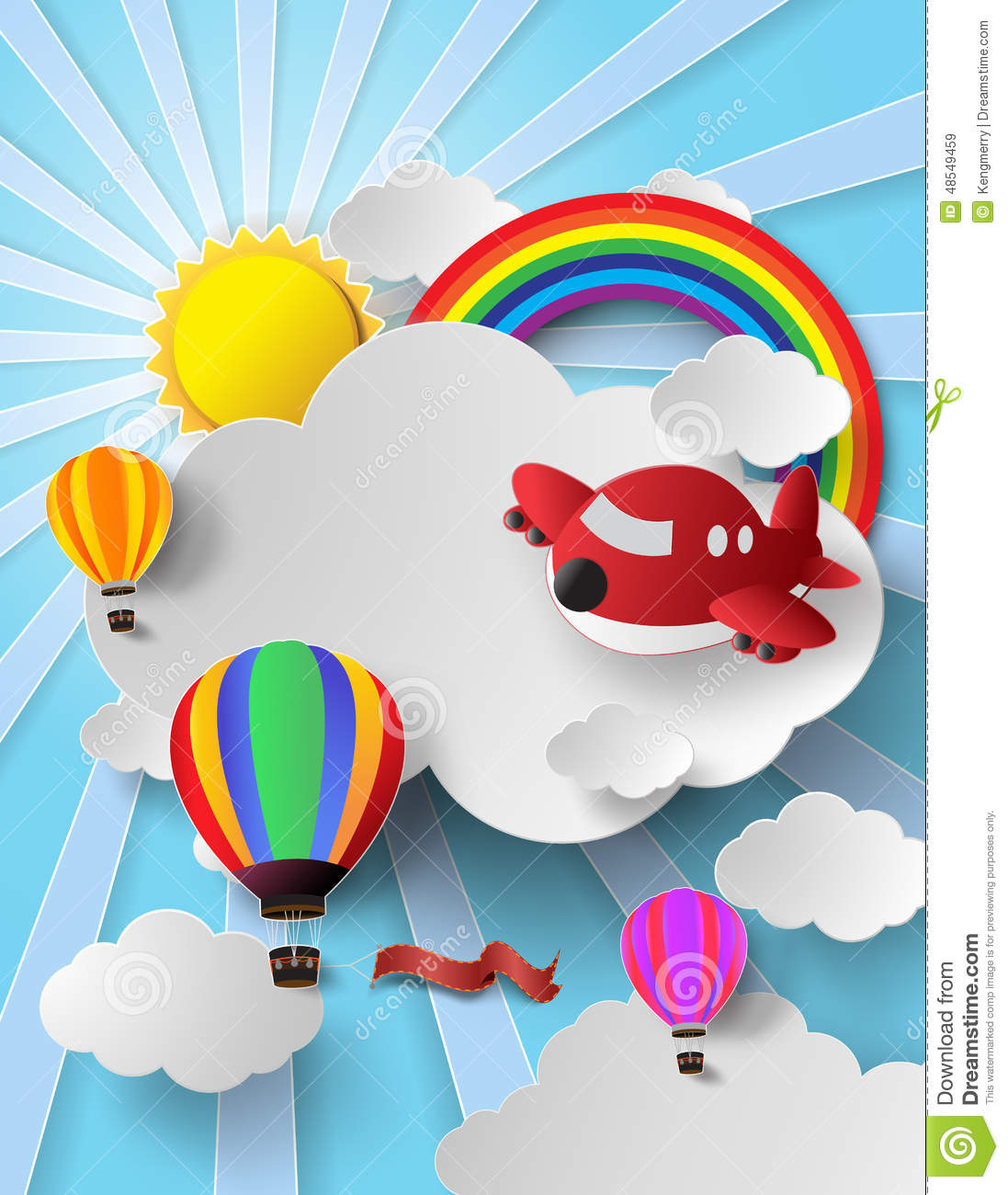Sunlight on cloud with hot air balloon and airplane stock vector illustration of illustration