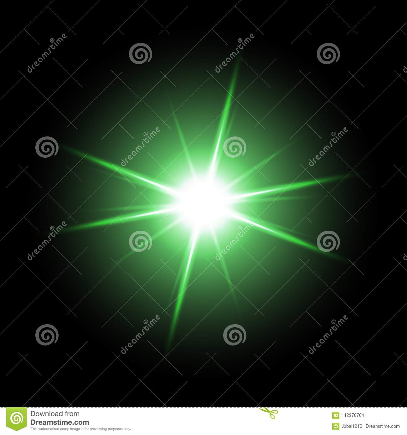 Shining star on black background, green color