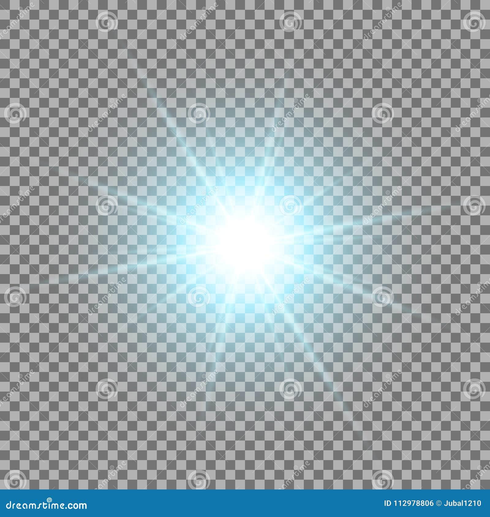 Shining star on transparent background, aqua color