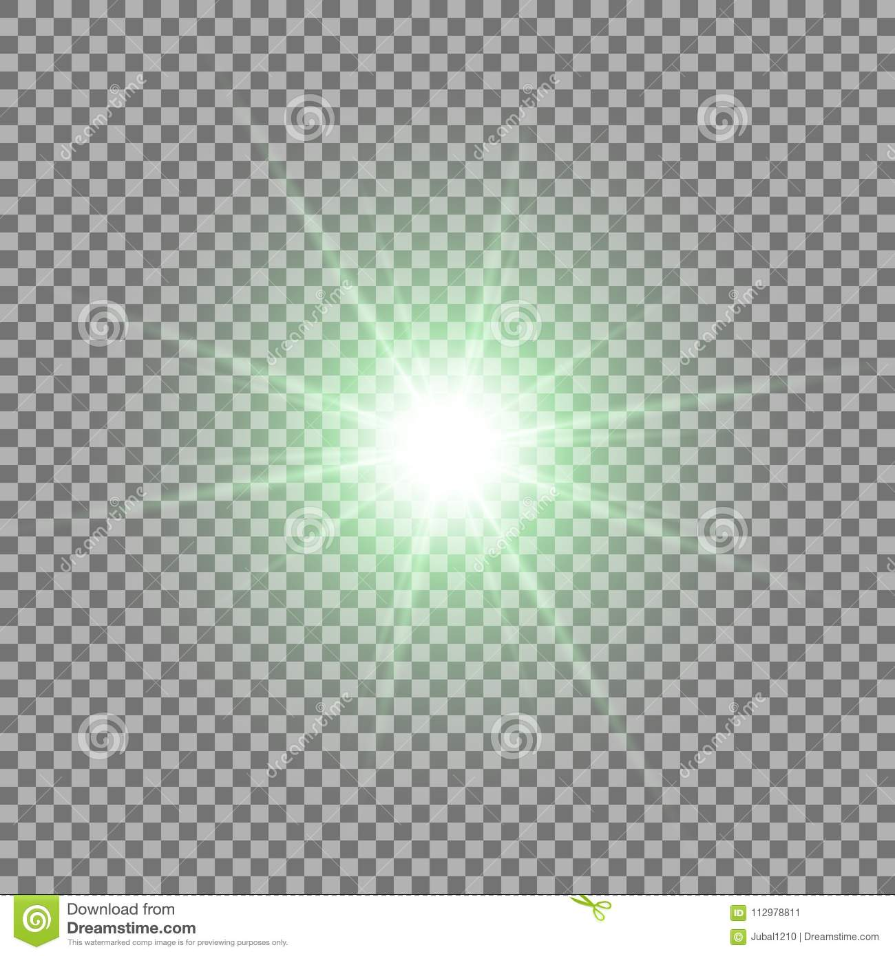 Shining star on transparent background, green color