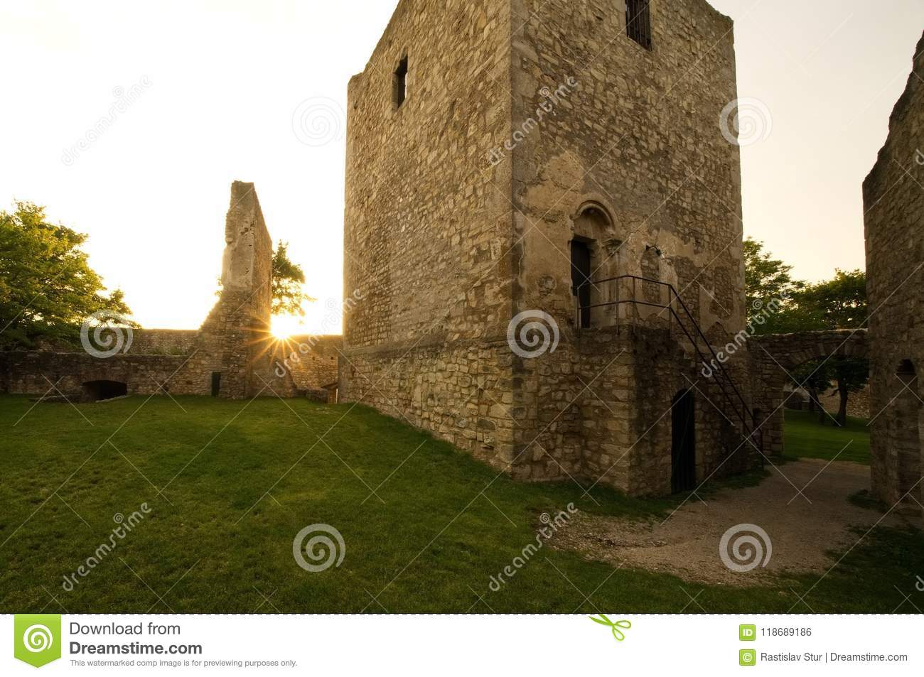 Old castle ruins sunlight