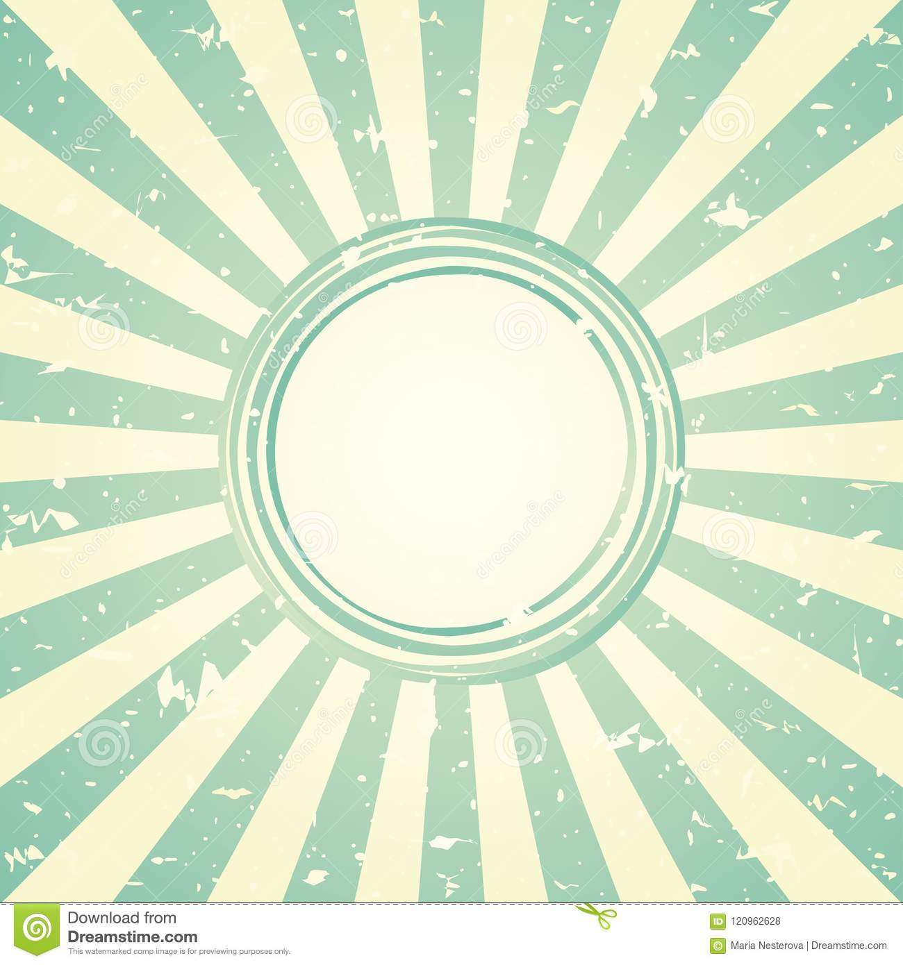 Sunlight retro faded wide background with shabby round frame for text. blue and green color burst background.