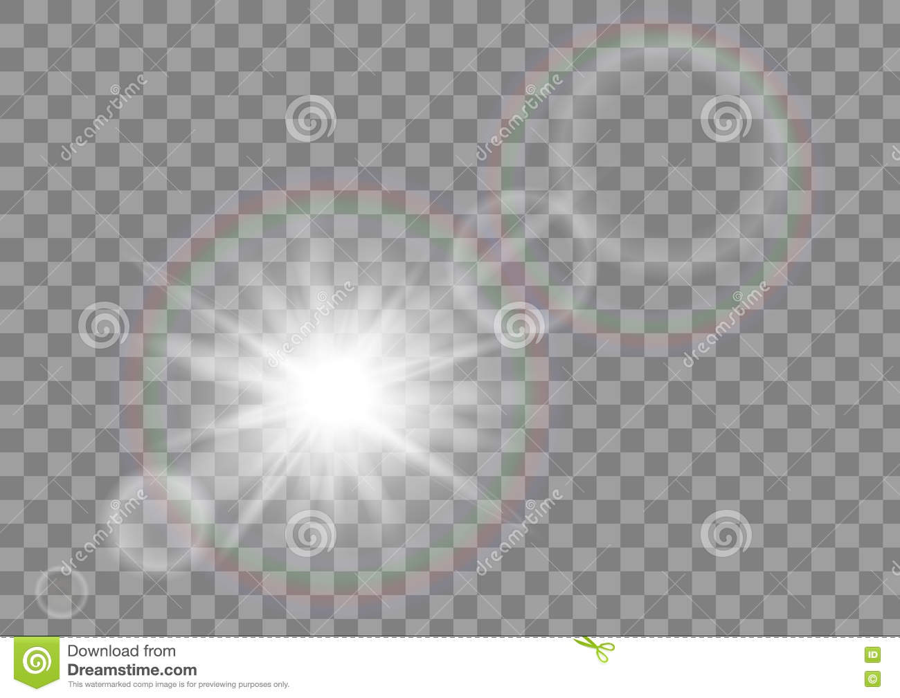 Sunlight sun sparkle with lens flare effect on transparent vector background.