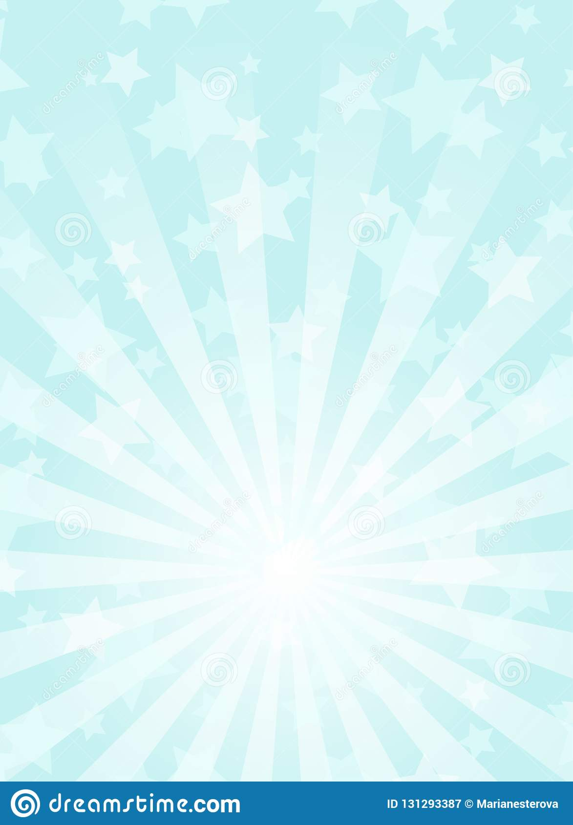 Sunlight vertical background. Powder blue color burst background with white highlight.