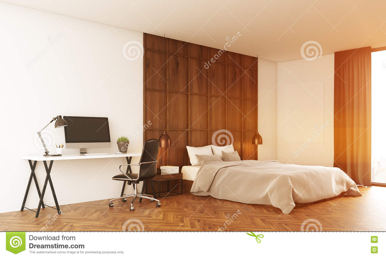 sunlit bedroom with computer stock illustration image