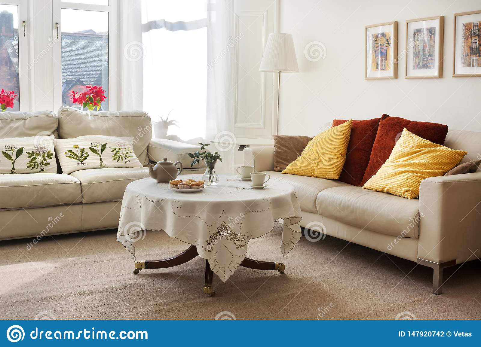 Sunlit Classic Style Living Room With Two Leather Sofas And