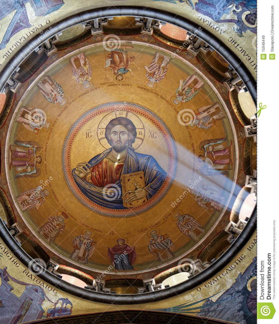 Sunlit painting of Jesus Christ on dome of Church