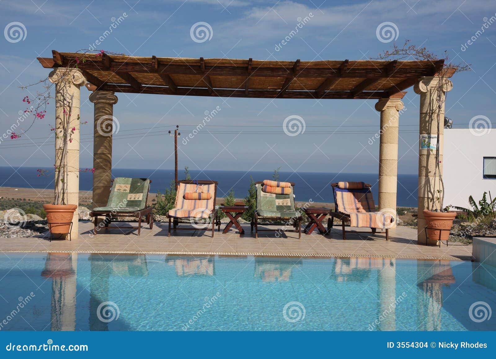 Sunloungers durch das Pool