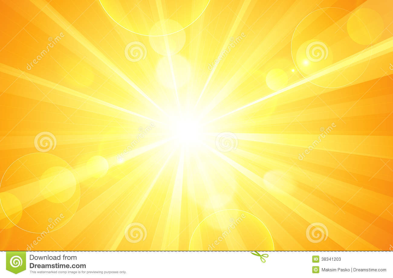 Sunny background with bright sun and glare. Vector.