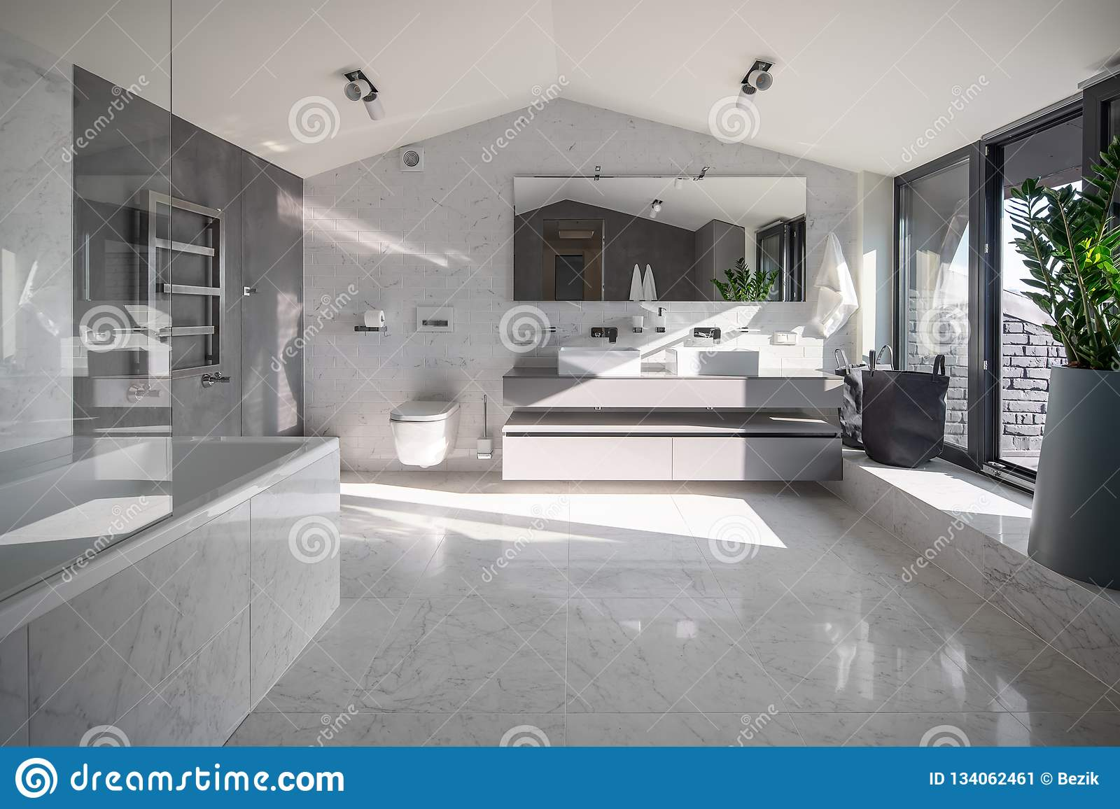. Sunny Bathroom In Modern Style With Different Walls Stock Image