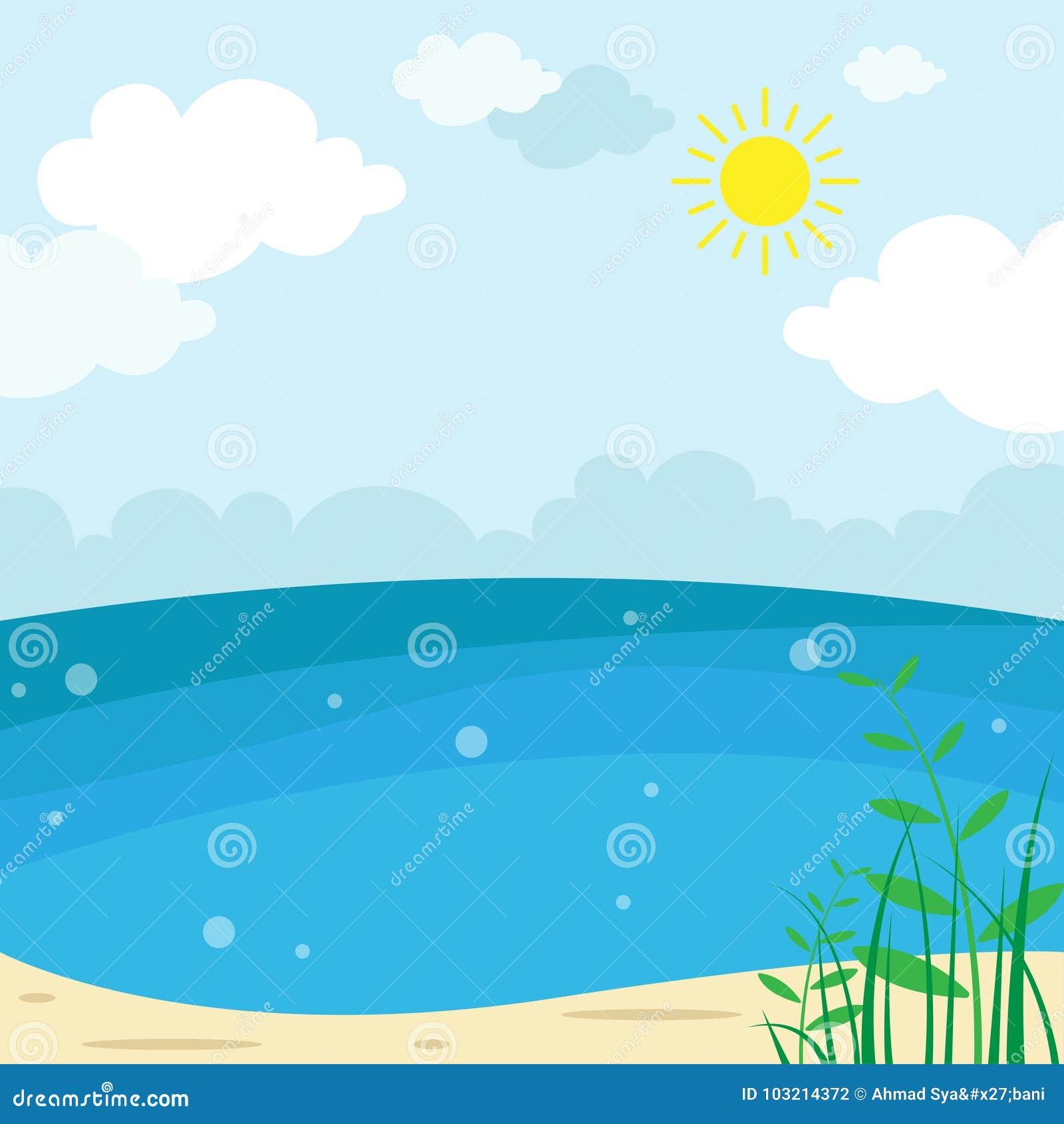 Sunny Beach Landscape - vektorillustration, semesterperiodsommarbakgrund