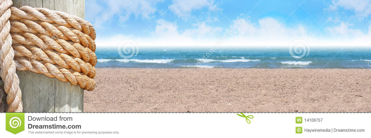 Sunny Beach with Sand Header and Rope