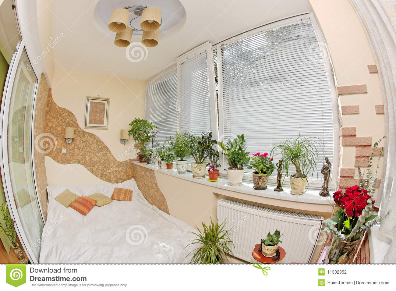 Sunny Bedroom On Balcony With Window And Plants Stock