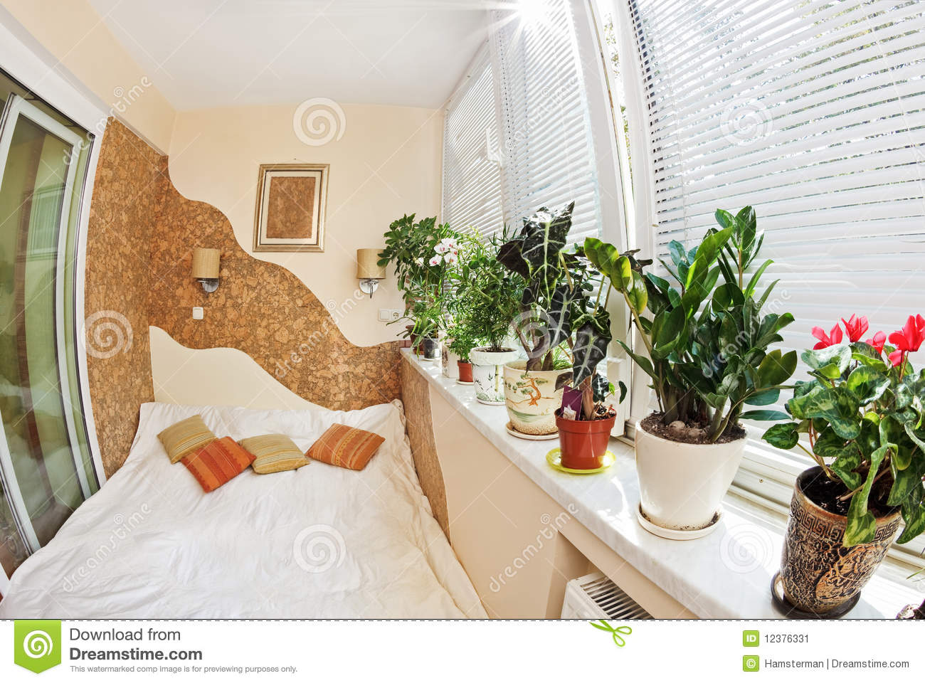 Sunny Bedroom On Balcony With Window And Plants F Stock