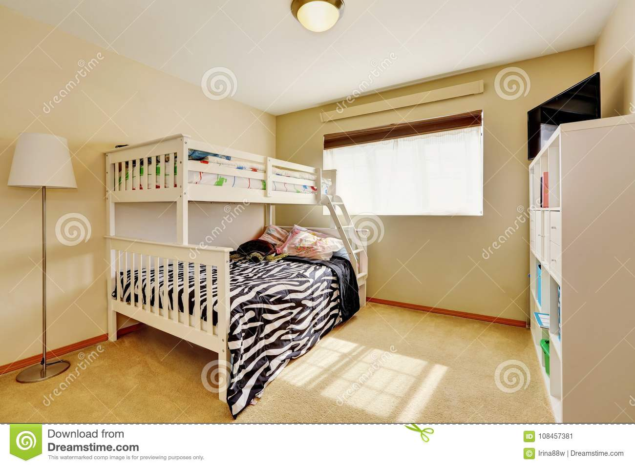 Sunny Beige Kids Room With Bunk Bed Stock Image Image Of Free