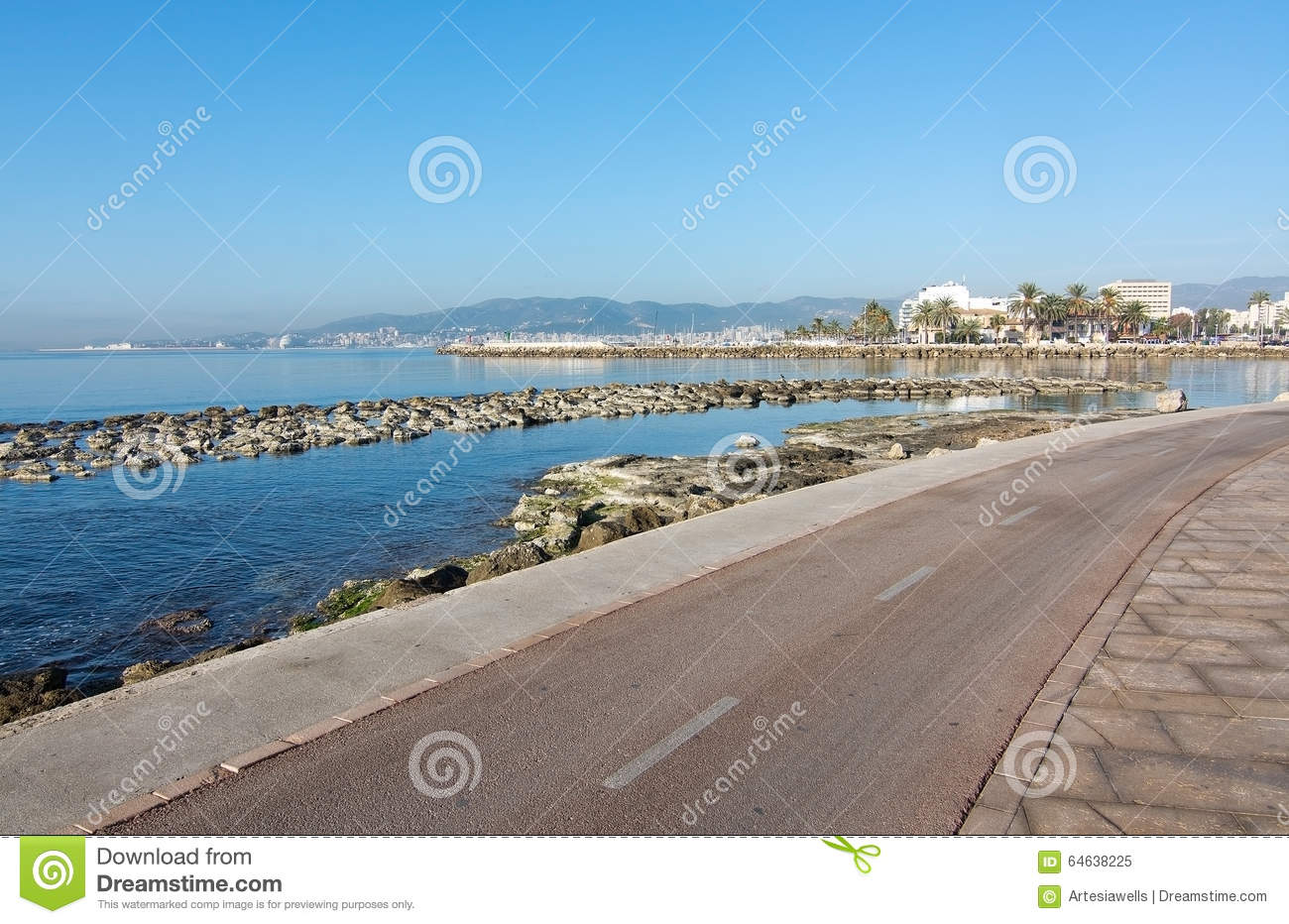 Sunny bike route along the mediterranean editorial image for Ciudad jardin mallorca