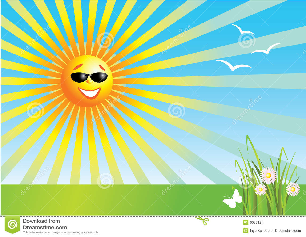 Vector illustration of the sun on a bright sunny day, with some birds