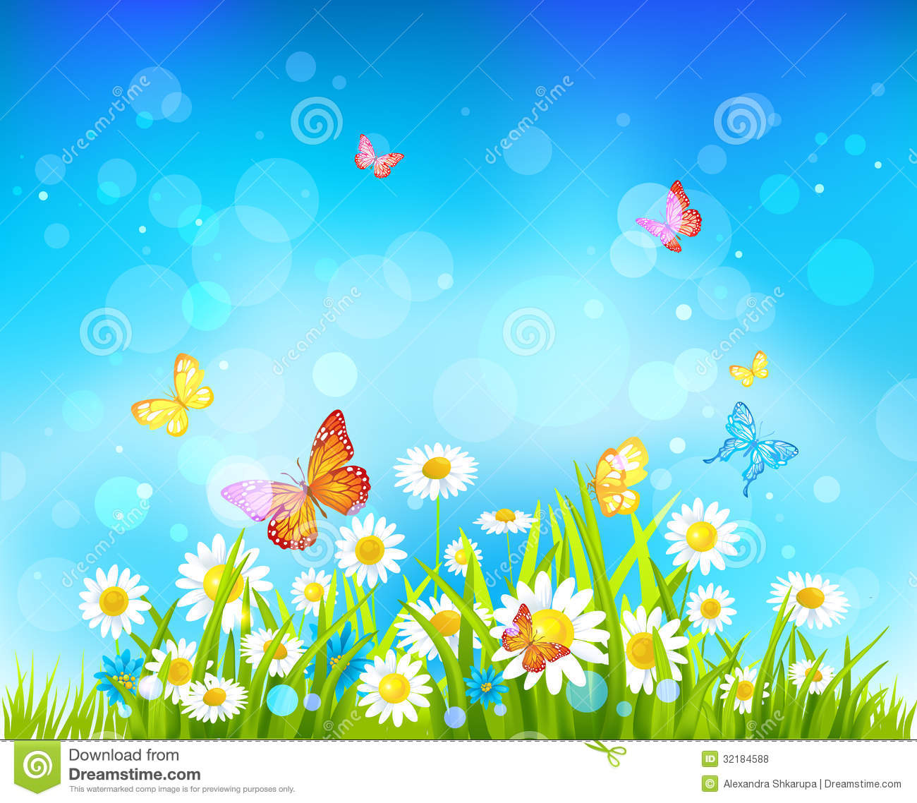 Sunny Day Background With Flowers And Butterflies Stock ...