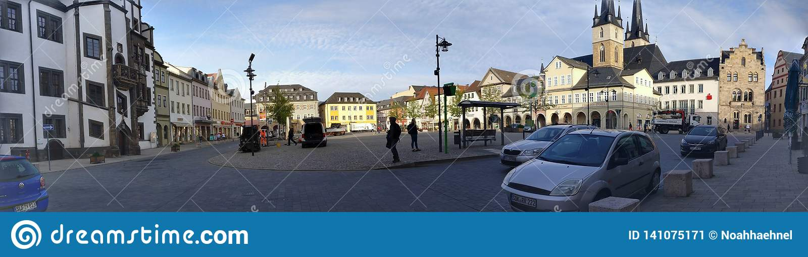 Panorama of Small City Market Place Saalfeld