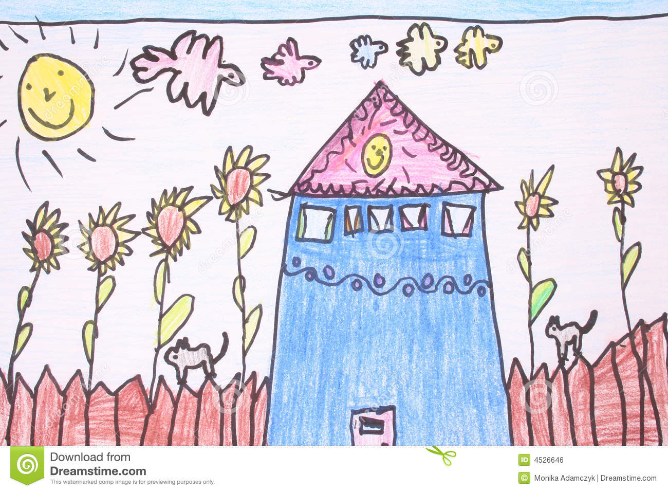 Line Drawing Sunny Day : Sunny day crayon drawing stock illustration