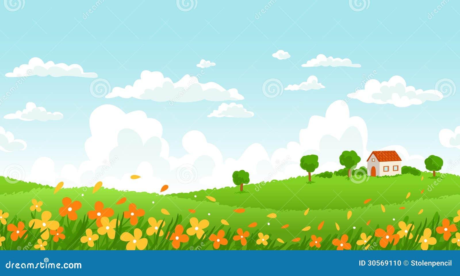 Sunny Day Landscape Stock Photo Image 30569110