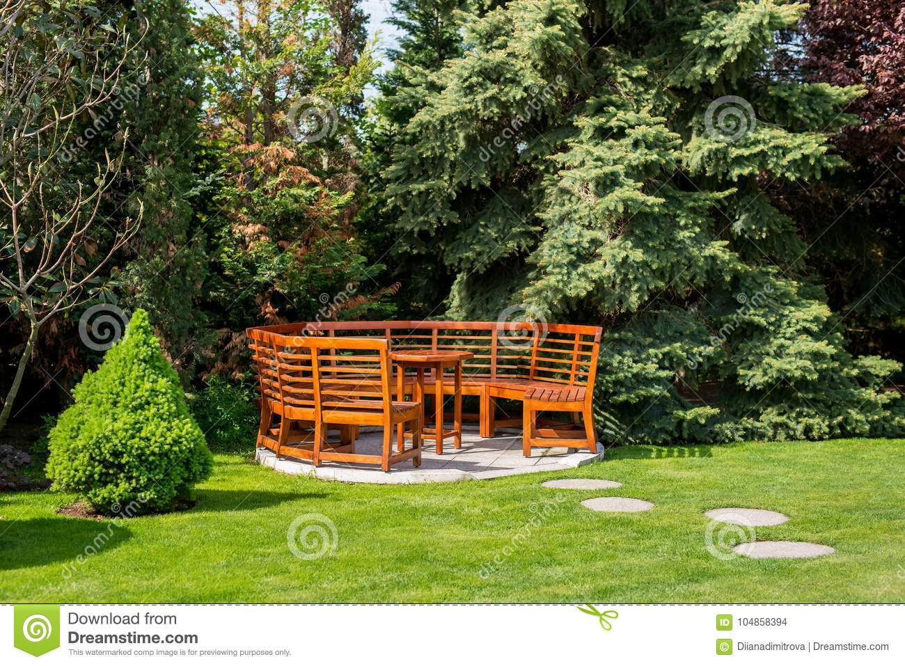 Sensational Sunny Day In A Spring Garden With Wooden Table And Benches Ibusinesslaw Wood Chair Design Ideas Ibusinesslaworg