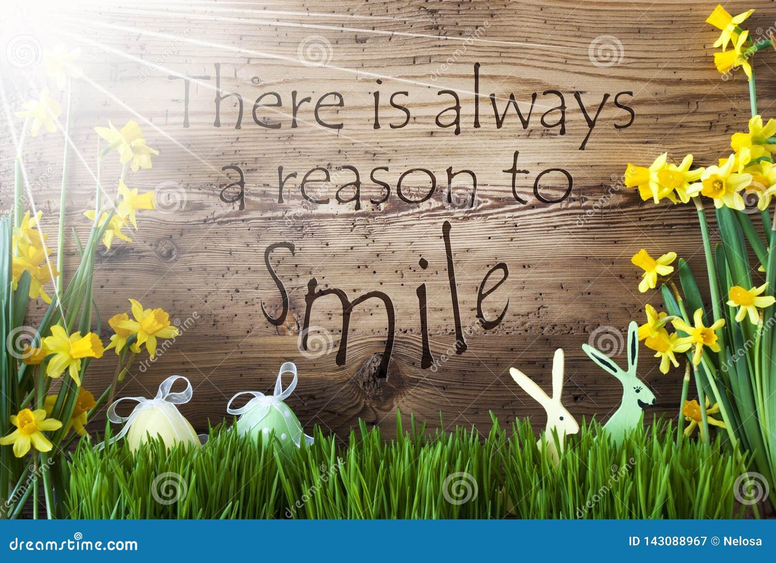 Sunny Easter Decoration gräs, citationstecken resonerar alltid för att le