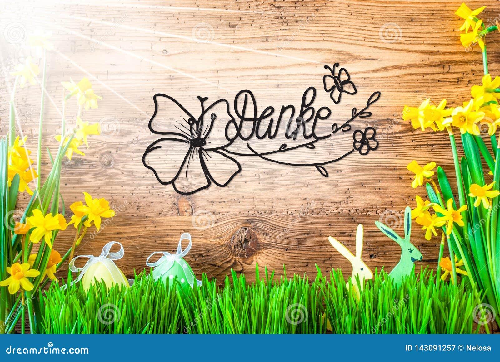 Sunny Easter Decoration kalligrafiDanke hjälpmedel tackar dig